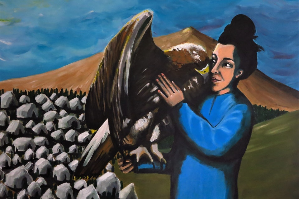 Einat Aloni - A Self Portrait with a Golden Eagle