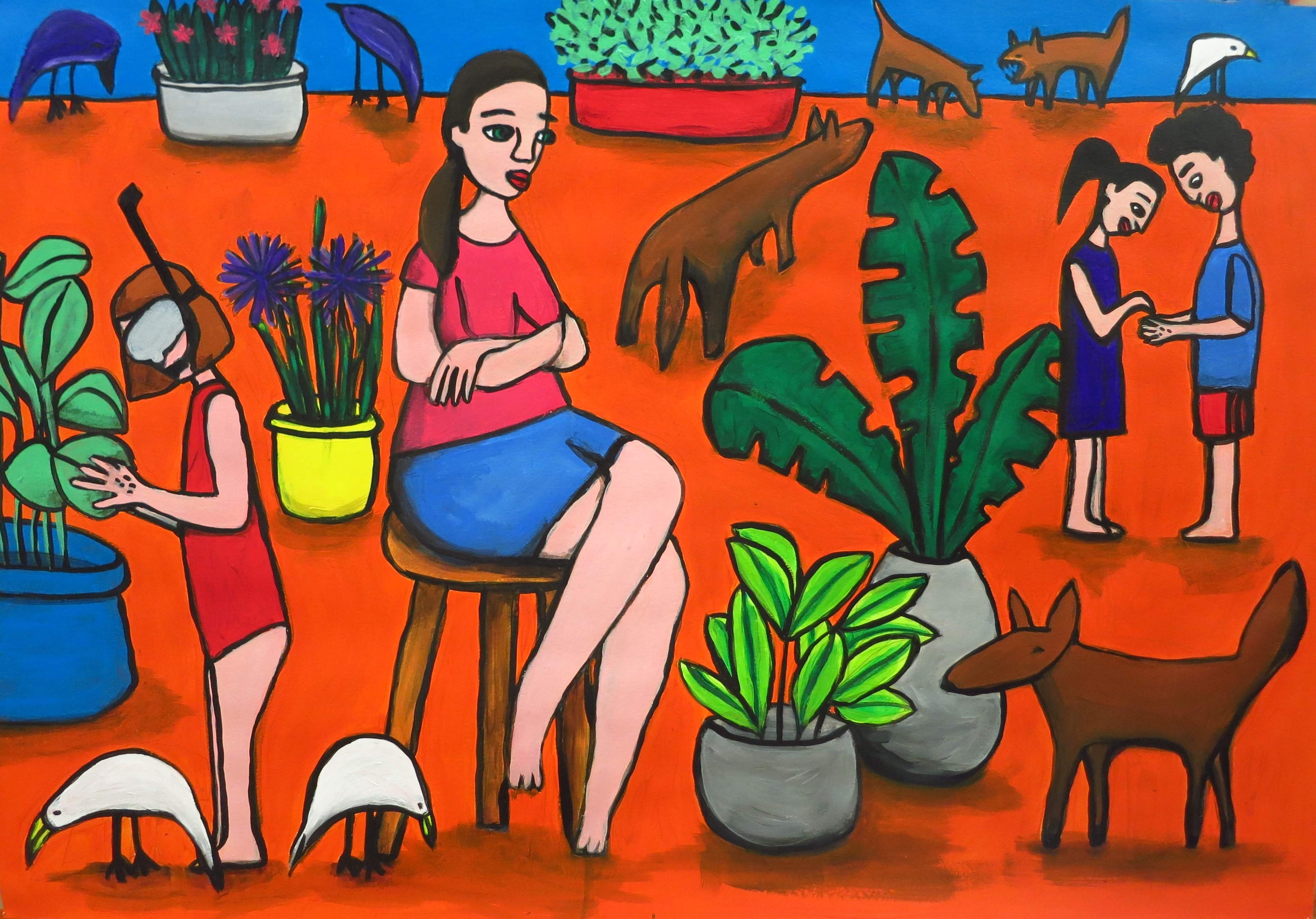 Einat Aloni - Sonia and friends, acrylic on paper, 100X70 cm
