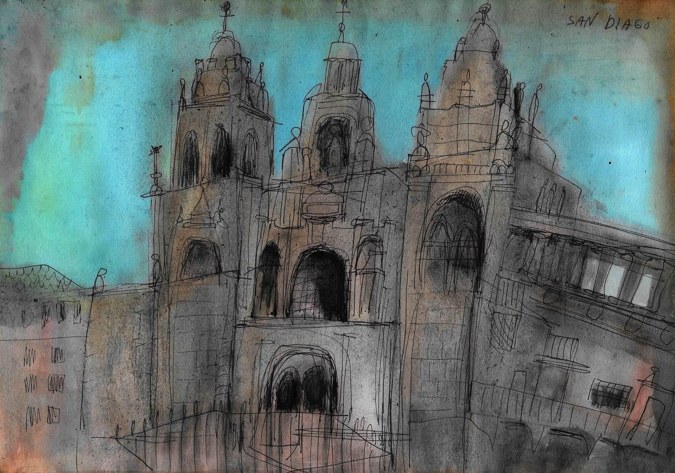 Einat Aloni - Santiago de Compostela, mixed media on paper, 30X20 cm