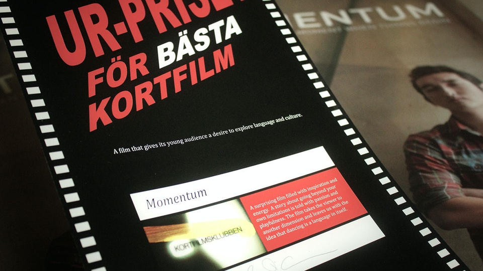 Momentum - Momentum receiving the UR-Award at Uppsala Short Film Festival
