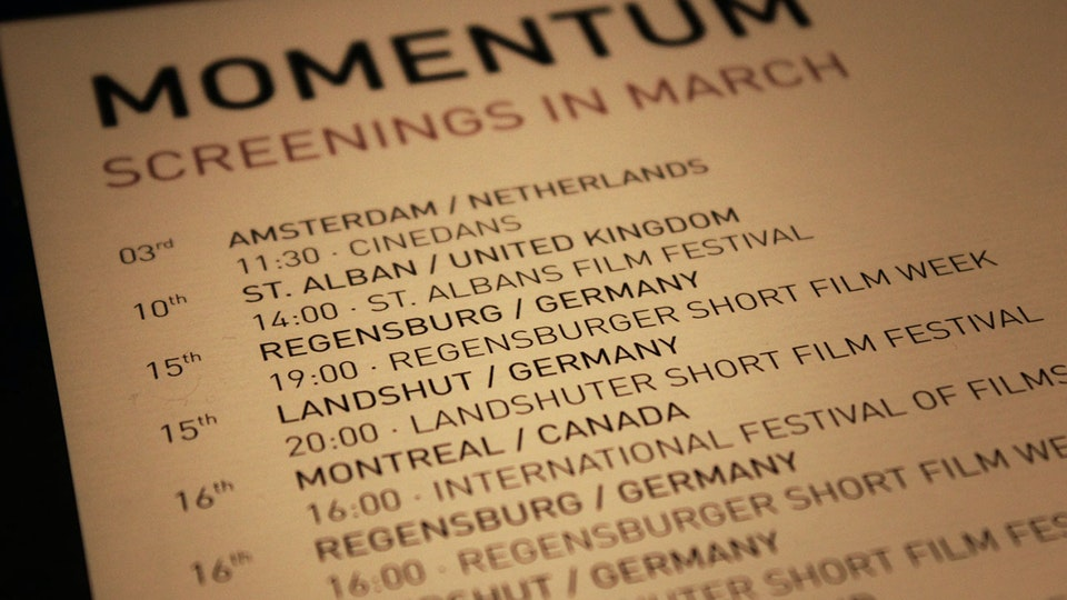 Momentum - Screening Schedule for March 2013