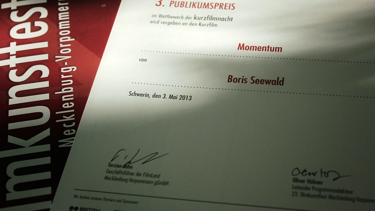 Momentum - Audience Award at the Kunstfilmfest Mecklenburg-Vorpommern