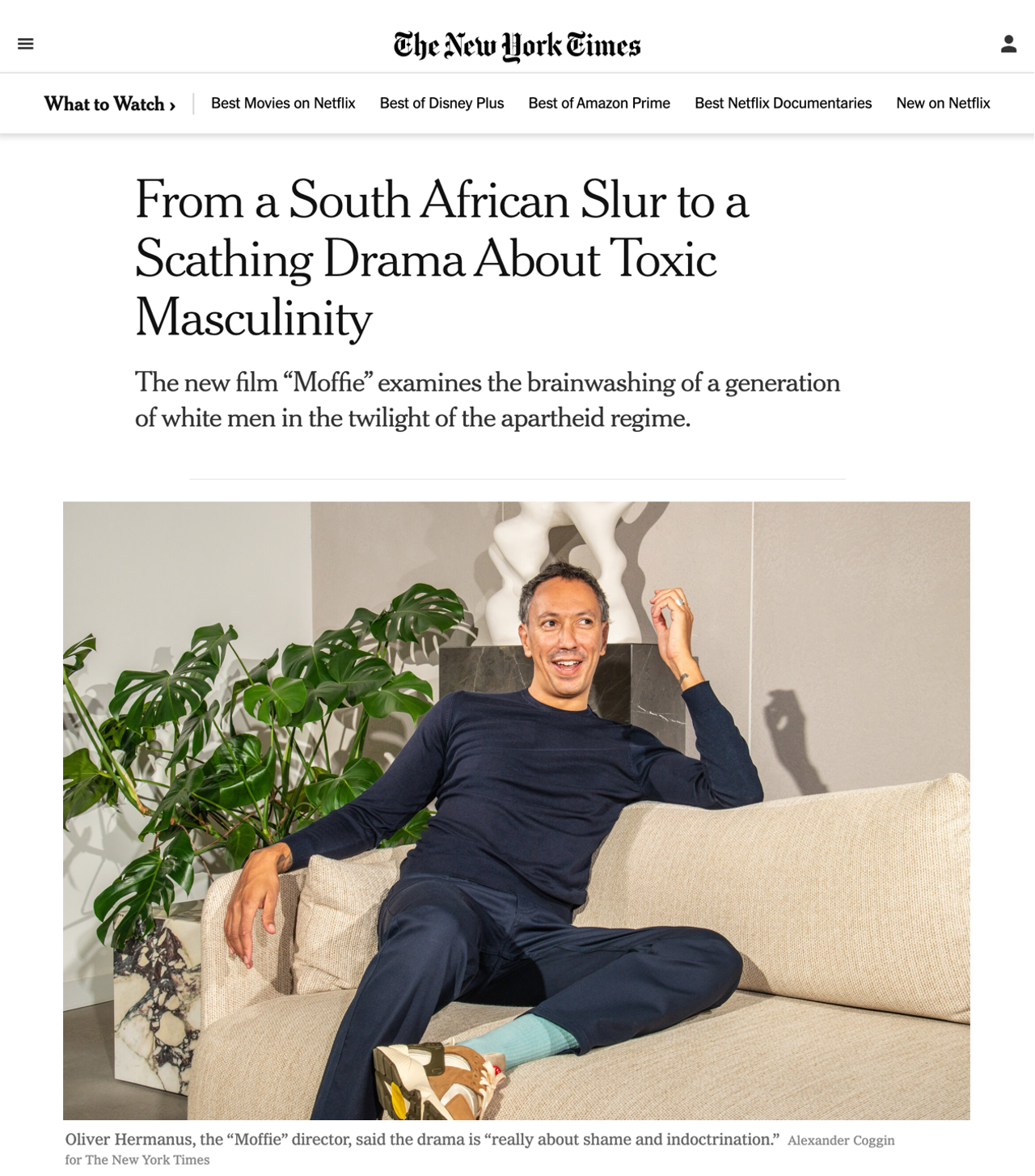 New York Times interviews Oliver Hermanus ahead of the US release of 'Moffie'