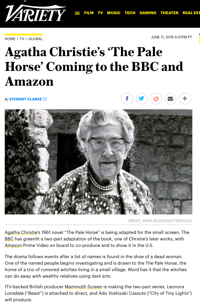 Leonora confirmed to direct the adaptation of Agatha Christie's 'The Pale Horse'