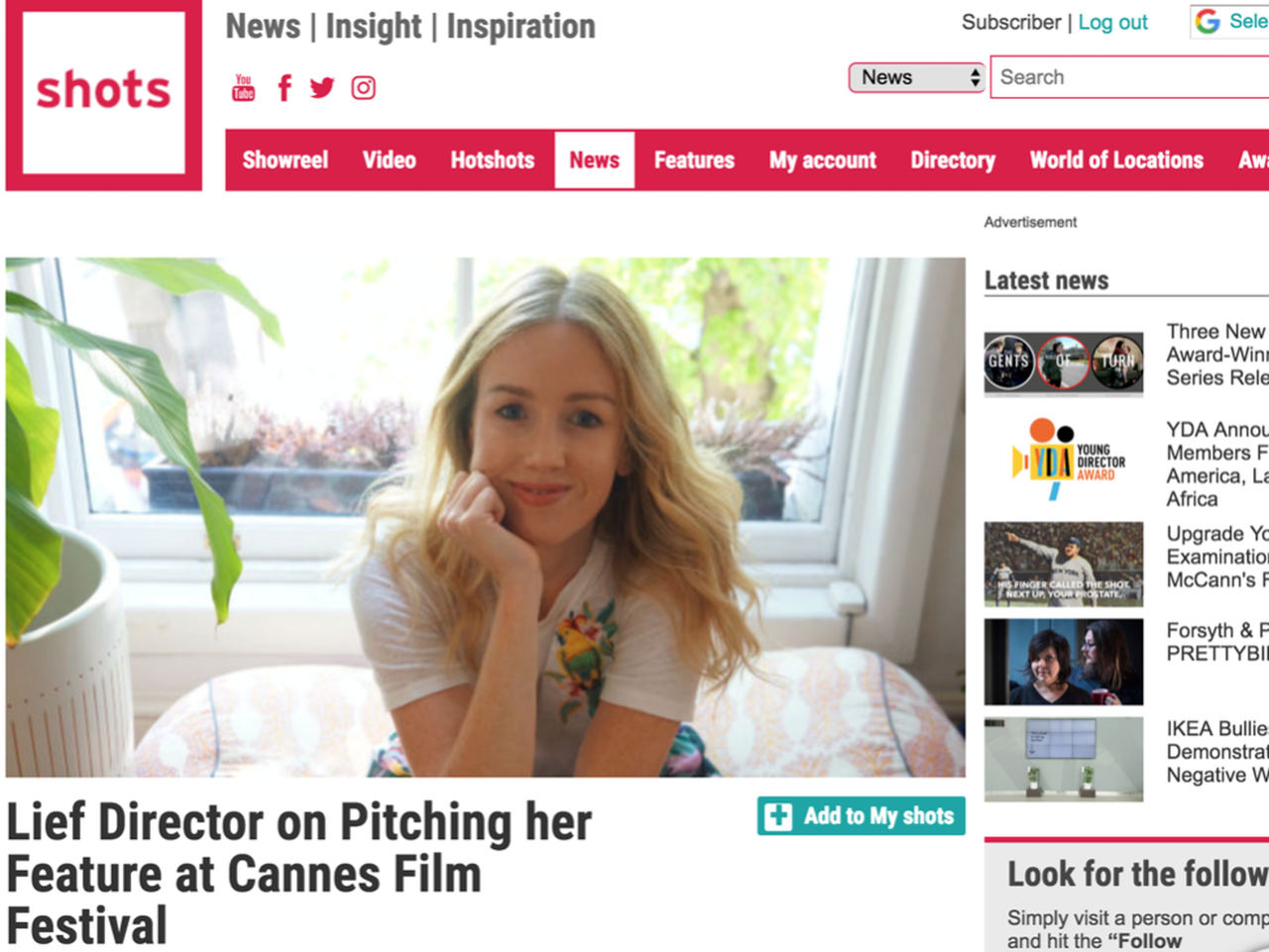 Leonora Lonsdale breaks through to Cannes' Film Festival!