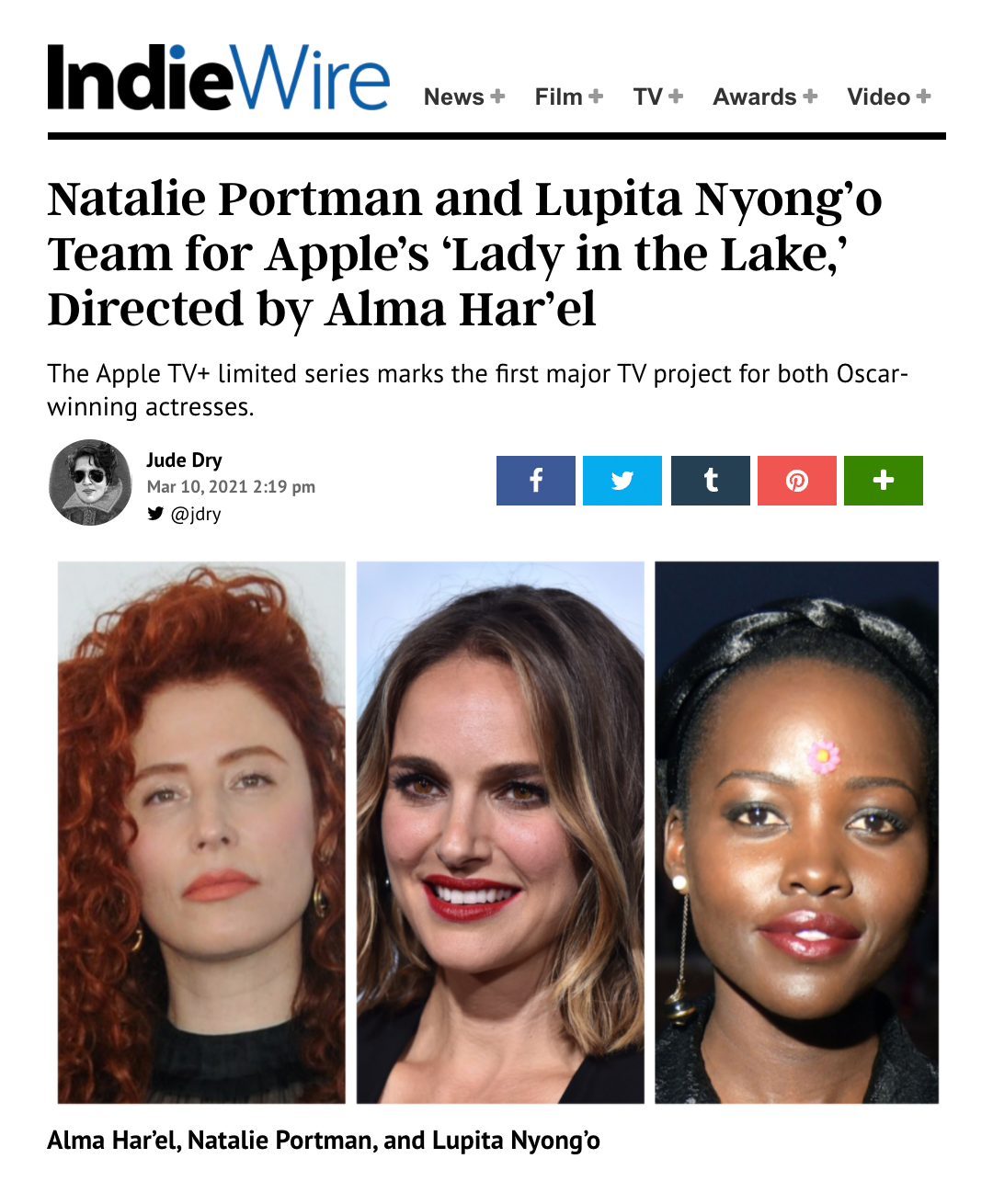"""Apple gives a straight-to-series order for """"Lady in the Lake"""", directed and co-written by Alma Har'el"""