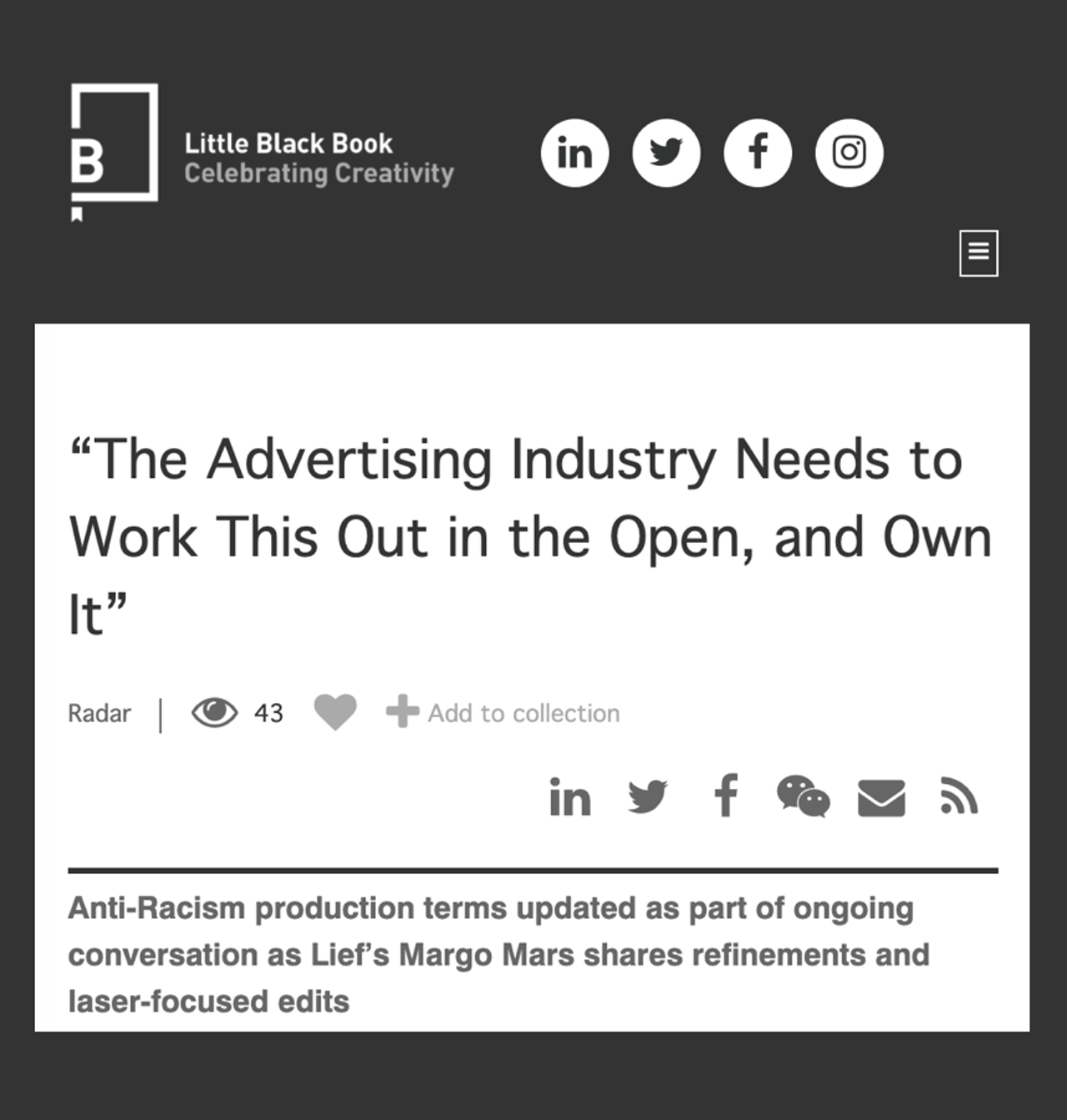 Read our refined terms in an open letter on the subject of systemic racism in the Advertising Industry.