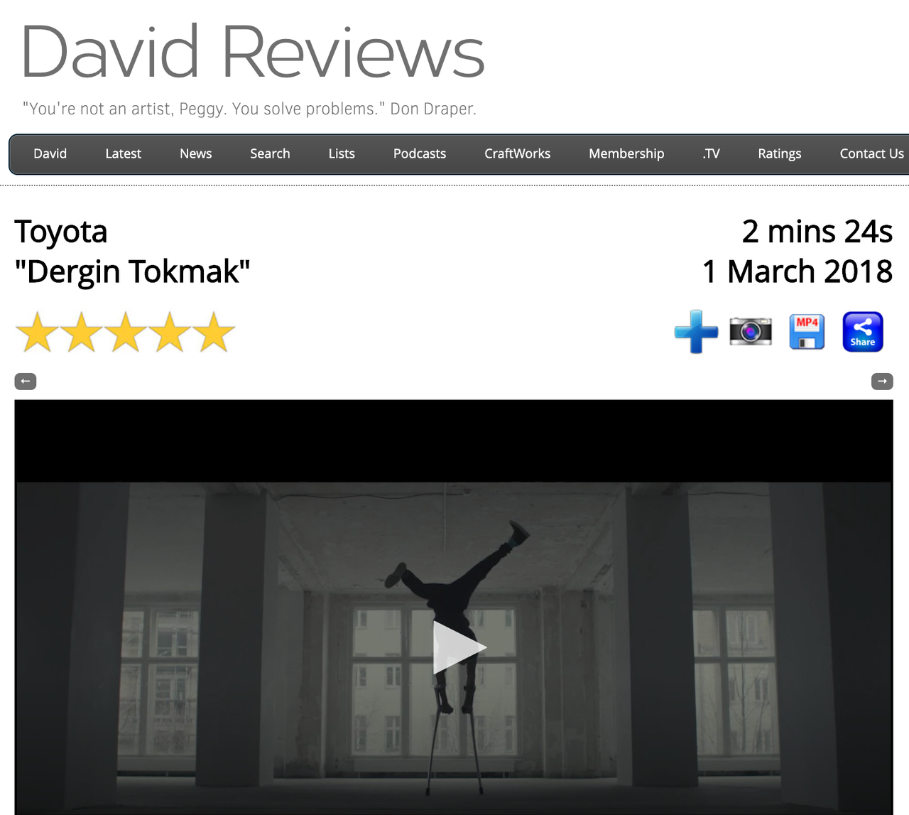 FLYING WITHOUT WINGS: PICK OF THE DAY for Adi Halfin's astonishing film for Toyota 'Dergin Tokmak'.