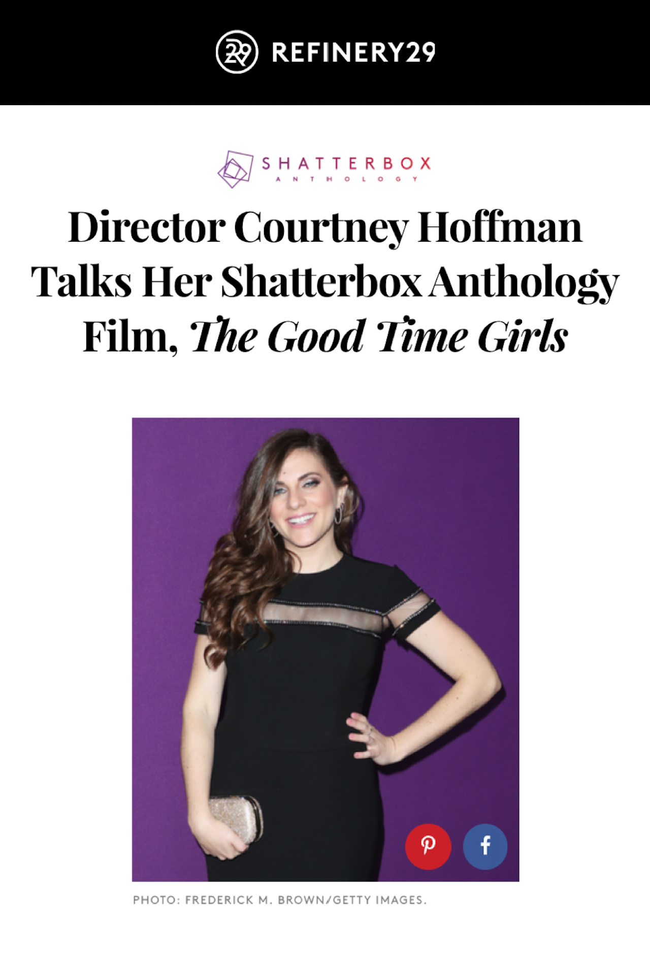 """Courtney Hoffman 'comes out' as a director: """"it's just one white man after another that we're told is our hero"""""""