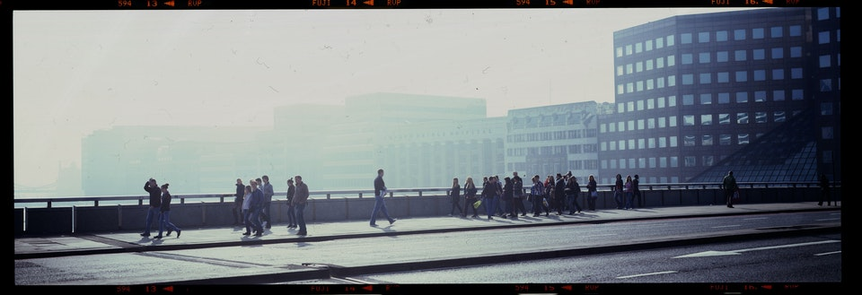 Landscapes: large format film 10x8 and linhof technorama - london-bridge-man-in-crowd-web