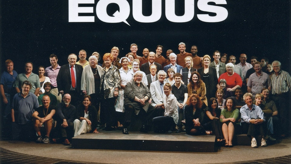 Equus - Full cast and crew, with producers.Fin seated between Peter and Daniel.
