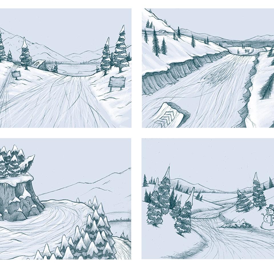 Storyboards snowboardingGameConceptFrames