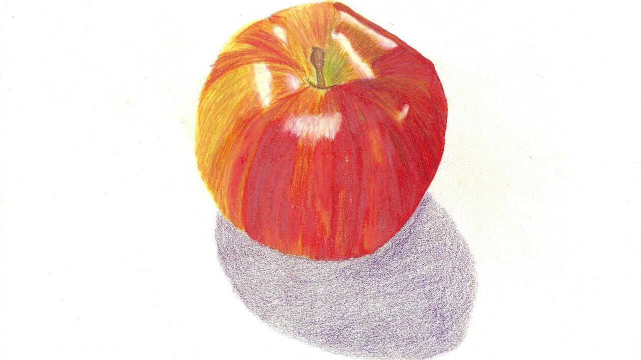"""Colored Pencil Apple Still Life - 11"""" x 14"""""""