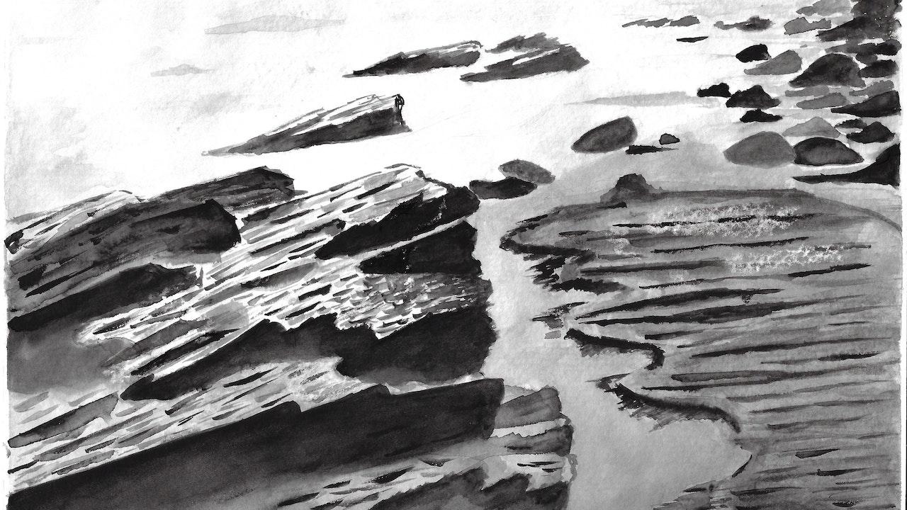 "Watercolor (Monochromatic) Ocean with Rocky Beach - 9"" x 12"""