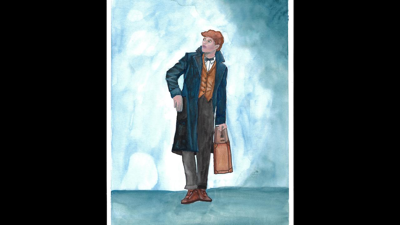 "Watercolor ""Fantastic Beasts..."" Portrait - 9"" x 12"""