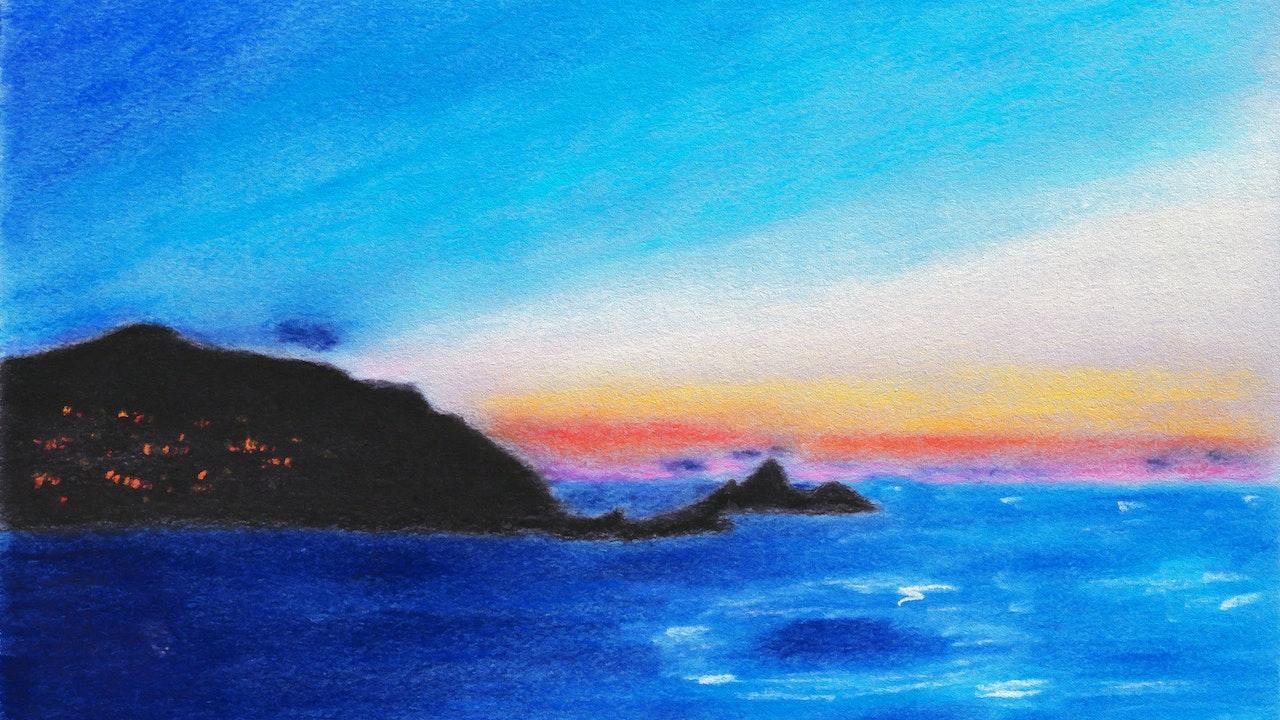 """Soft Pastel Seascape - 11"""" x 14"""""""
