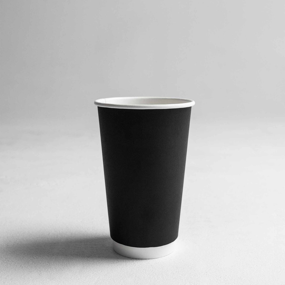 Gispac Products Reshoot Coffee_Cups_BlackDoubleWall_#16oz