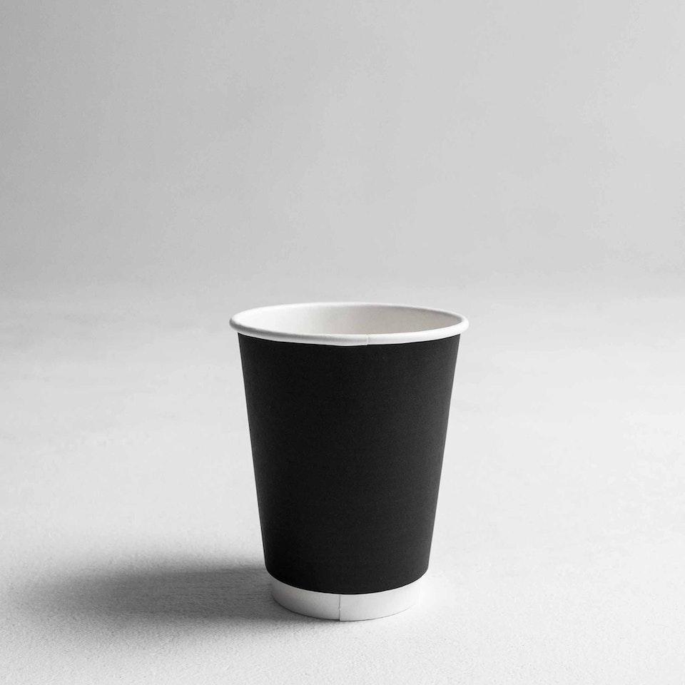 Gispac Products Reshoot Coffee_Cups_BlackDoubleWall_#12oz
