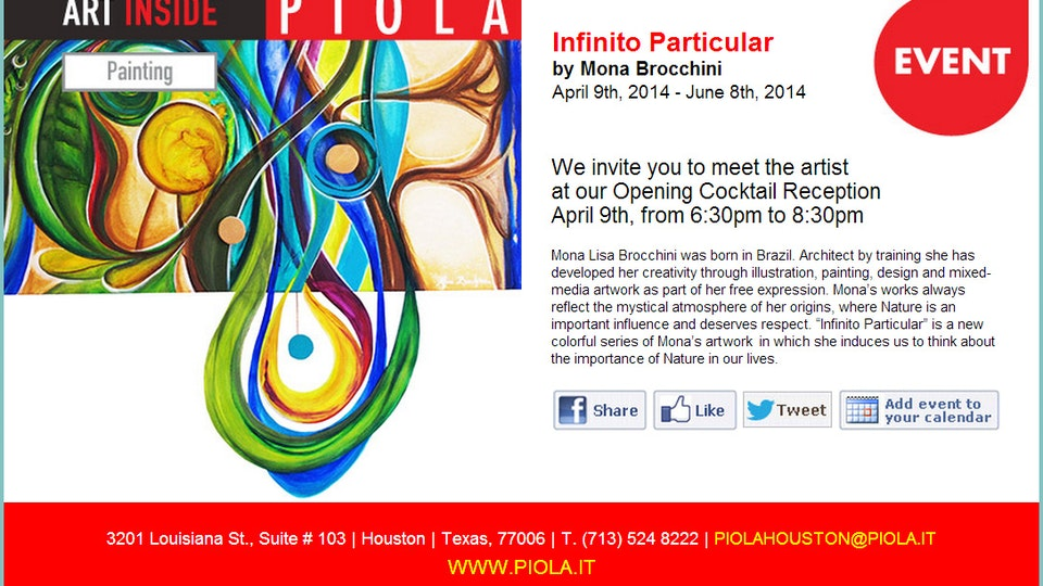 INFINITO  PARTICULAR . Reception . 2014 - INFINITY WITHIN . Solo Art Show . Invitation  . Texas . USA . 2014