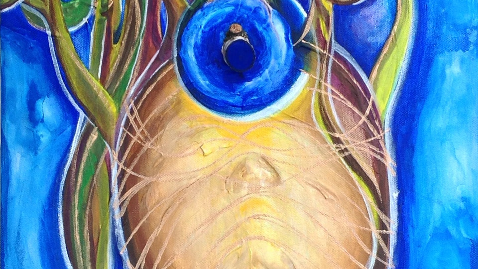 INFINITO  PARTICULAR - Elevation . See no evil, Hear no evil, Speak no evil . Mixed Media on Canvas . 12 x 36 x 3 in