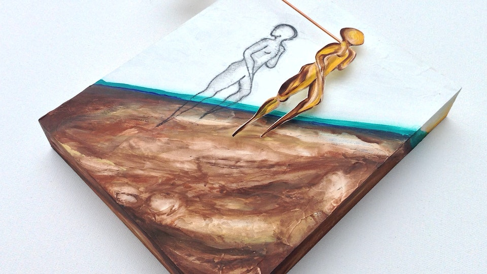 INFINITO  PARTICULAR - All That I Can't Leave Behind .   Mixed Media on Birchwood . 3D . 11 x 10 x 3 in . Sold