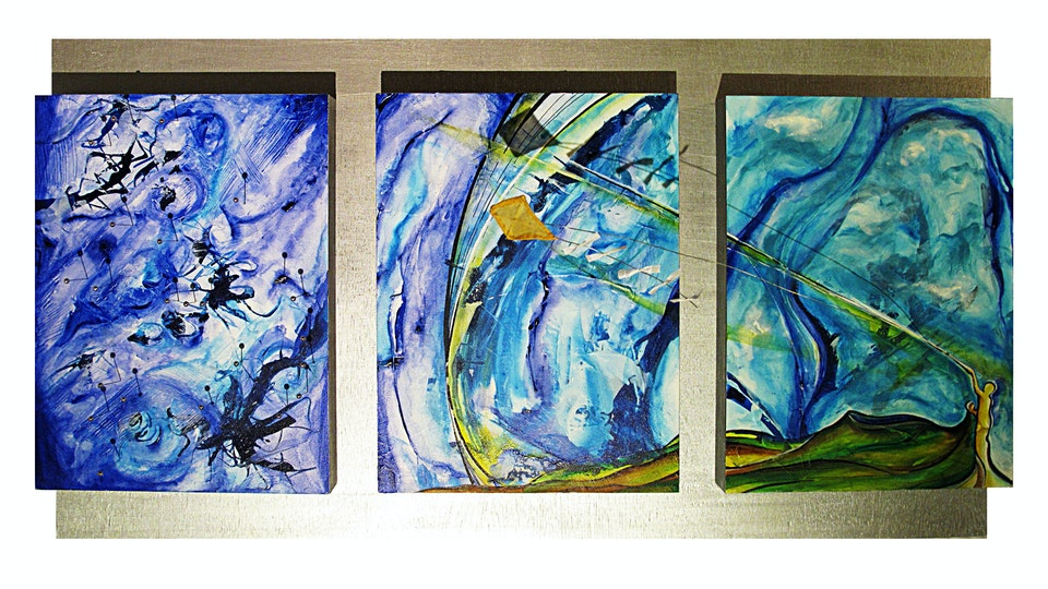 MIXED COLLECTION - Mixed Media  on birchwood . Triptych . 2013 . Sugar Land Airport . Texas . USA . Sold
