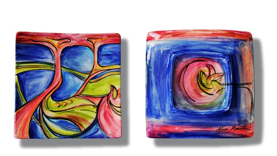 FREE  WILL - Cyclical Return .   Acrylic on Italian Ceramic . Plate .  3D . 12 x 12 x 1.5 in