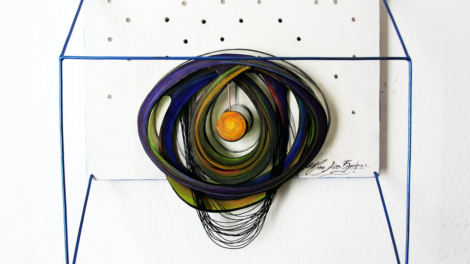 DEJA VU - Parallel Universe . The Eye of Universe . Mixed Media on Birchwood and Canvas. 3D . 16 x 11 x 6 in
