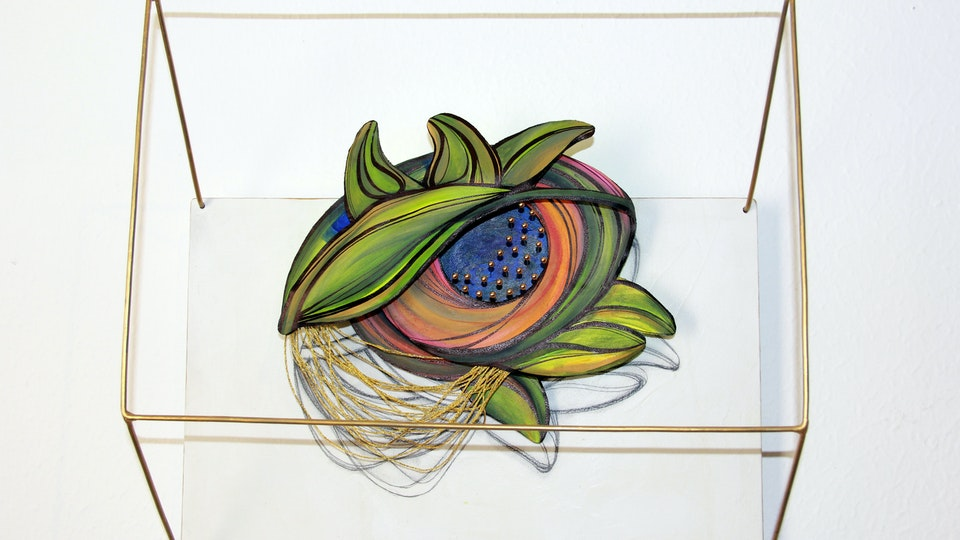 DEJA VU - Parallel Universe . Flora's Eye . Mixed Media on Birchwood and Canvas. 3D . 16 x 11 x 6 in