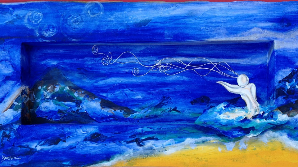 INFINITO  PARTICULAR - Greeting the Sea .   Mixed Media on Canvas . 24 x 12 x 3 in . Private Collection