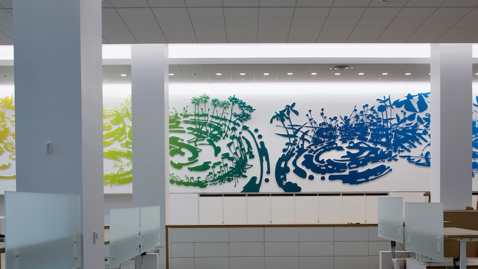 Chelsea Meadow Swirl - CHELSEA MEADOW SWIRL laminated acrylic composite | 720 x 120 x 1 inches | 2019 permanent site-specific commission | Hogan Lovells, 390 Madison Ave, NY © Chris Natrop (photo credit: Patrick Grandaw)