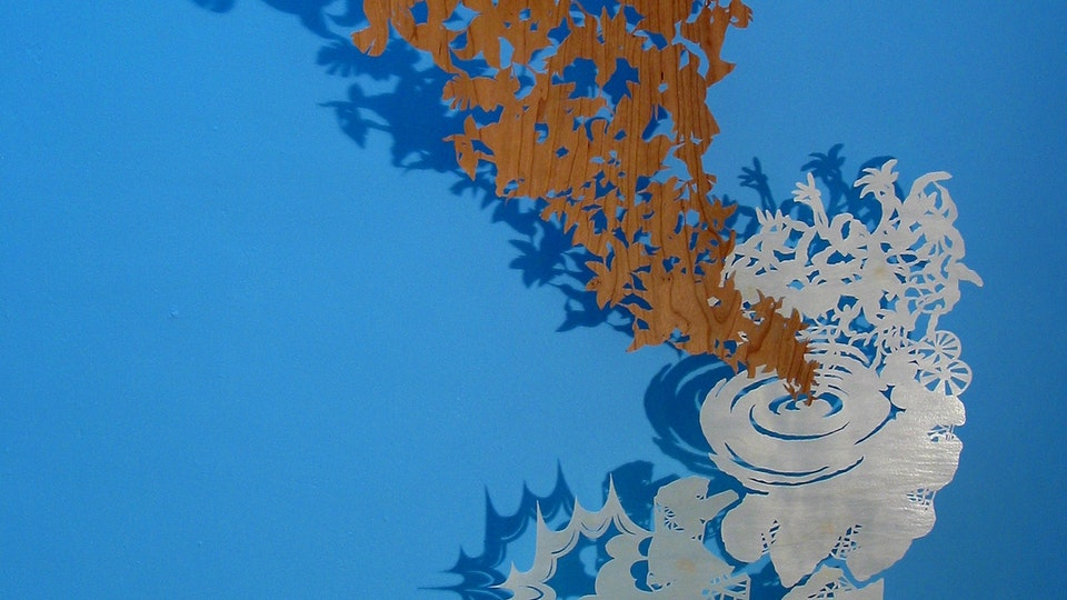 White Paper Color Field Series - Hummingbird Machine | cut paper wood, painted wall, wire. lighting | 2003  © Chris Natrop