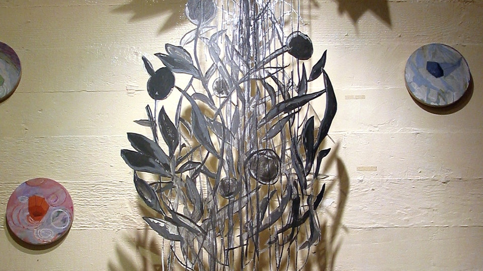 Early Paper Cuts - midcourse transfiguration | gouache and charcoal on cut paper, casein on wood panels wire | 2002 Melting Point Gallery | San Francisco