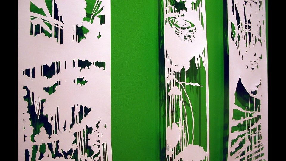 White Paper Color Field Series - Sprung (detail) | cut paper, painted wall, wire. lighting | 2003  © Chris Natrop