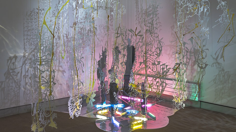 Lily Ponder - LILY PONDER size variable | watercolor on hand cut paper, mylar, 2-way mirror, fluorescent lighting, thread | 2012  | UMaine Art Museum, Bangor, ME