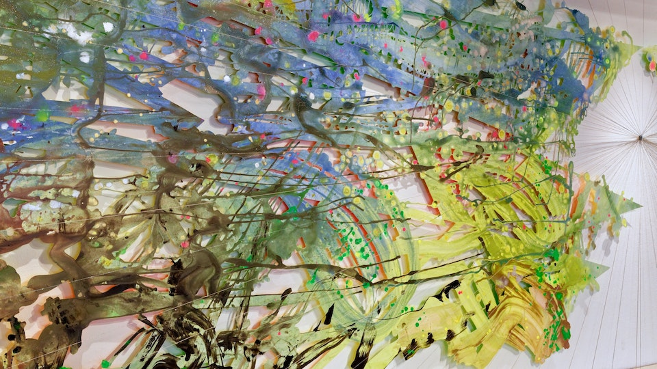 Jungle Diamond Burst - Jungle Diamond Burst | 60 x 230 x 24 inches | acrylic and glitter on paper, string, nails | 2018 © Chris Natrop