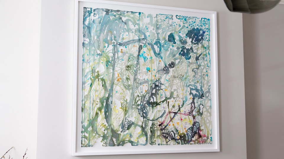 Silver Blue by You - SILVER BLUE BY YOU | 43 x43 | watercolor, aluminum powder, glitter on hand cut paper | 2015 © Chris Natrop