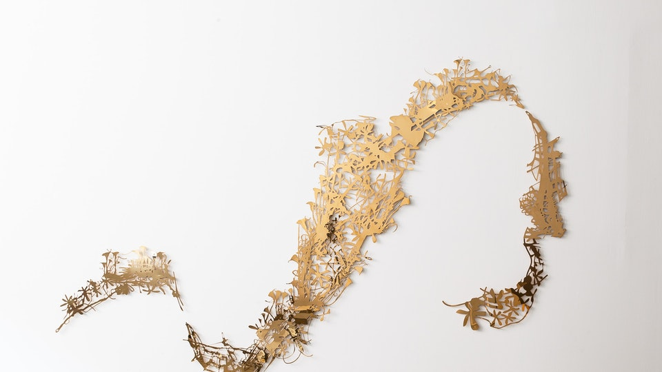 Shiny Lily Swoosh - SHINY LILY SWOOSH | 97 x 68 x ½ inches | 3 pieces of polished brass | 2012
