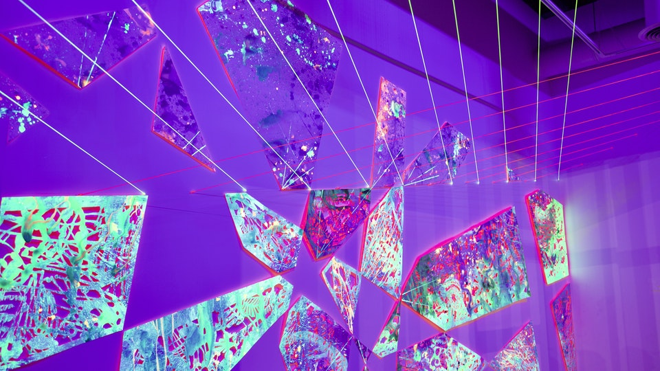Pink Fern Machine - PINK FERN MACHINE 9x24x12' | fluorescent acrylic paint on cut paper, fluorescent string, nails, ultraviolet lighting | 2019 © Chris Natrop