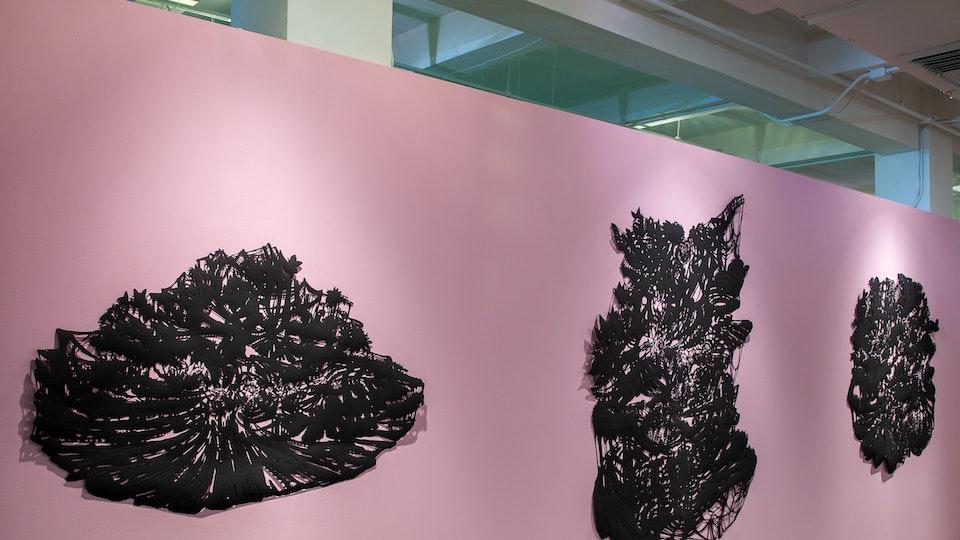 Black Black Butterfly Sparkle Bomb - BLACK BLACK BUTTERFLY SPARKLE BOMB sizes variable | black tape on hand cut black Somerset velvet printmaking paper with crystal earrings | 2006 © Chris Natrop