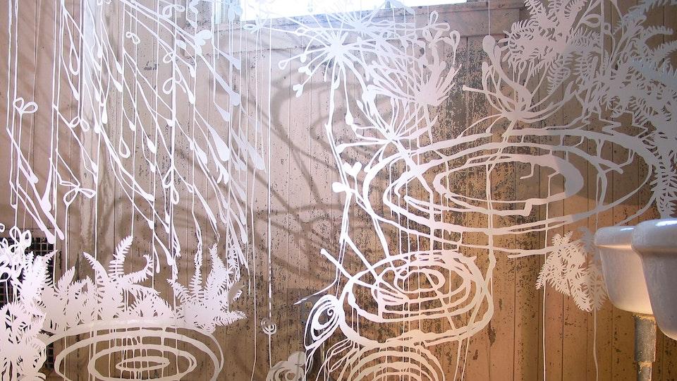 Fern Space Burst - FERN SPACE BURST   size variable   hand cut paper, colored ink, watercolor, iridescent medium, thread, lighting   2004 © Chris Natrop