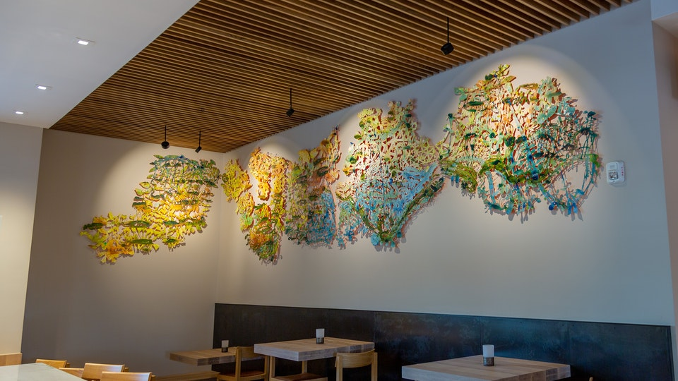 Ox and Anchor Seascape - OX AND ANCHOR SEASCAPE 70 x 288 inches | acrylic on cut paper with nails | 2019 Permanent Sit-Specific Commission | Ox & Anchor Restaurant @ Hotel San Luis Obispo © Chris Natrop