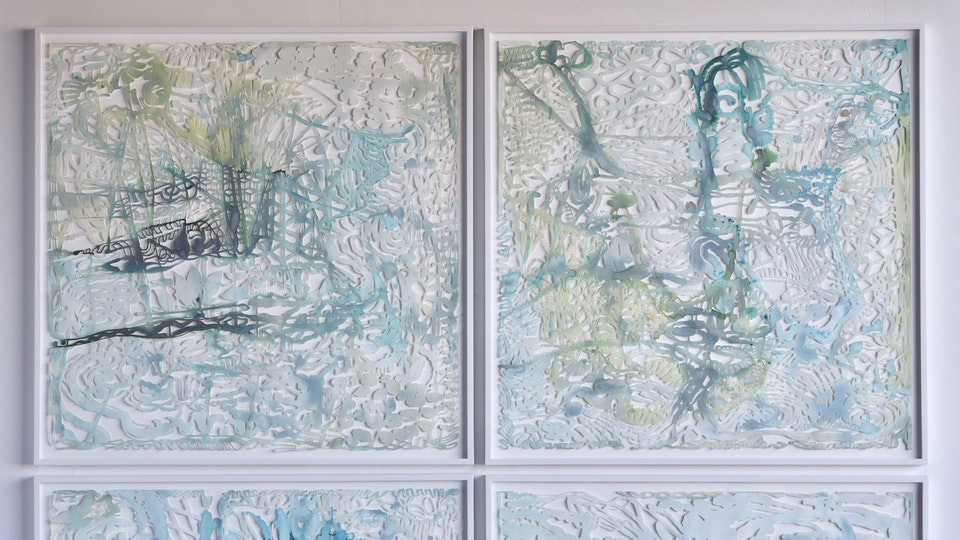 Bayou Spin Out - Bayou Spin Out   38 x 38 (ea. framed)   watercolor, aluminum powder, glitter on hand cut paper   2015 © Chris Natrop