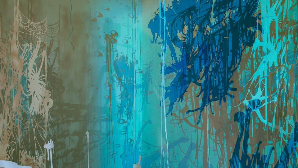 And further the dewdrop falls - AND FURTHER THE DEWDROP FALLS   cut paper with watercolor, glitter and magic string; cut acrylic sheet; HD video projection   Chris Natrop Solo Exhibition   MOCA Jacksonville   2008