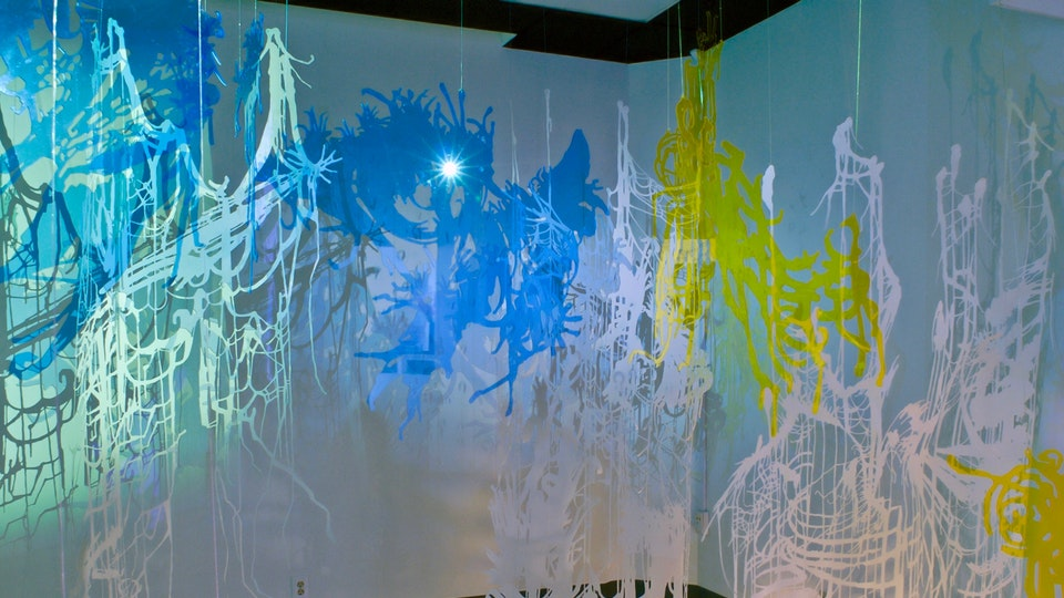 Dewdrop Redux 2 - DEWDROP REDUX 2   size variable   cut paper with watercolor, glitter and magic string; cut acrylic sheet; HD video projection   2008  Solo Exhibition   Wignall Museum, Chaffey College   2008 © Chris Natrop