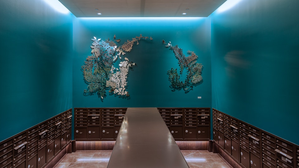 Candy Bowl Reflection - CANDY BOWL REFLECTION | 76 x 142 x2 | acid etched stainless steel, rainbow painted edges, teal wall, mailroom, DTLA | 2020