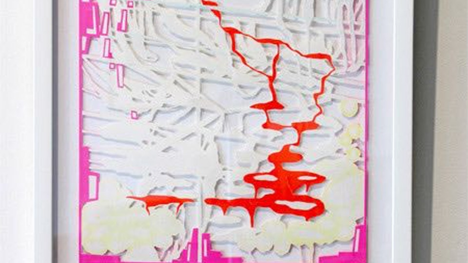 Nerve Brane Space - NERVE BRANE SPACE tape and watercolor on cut paper | 2005 © Chris Natrop