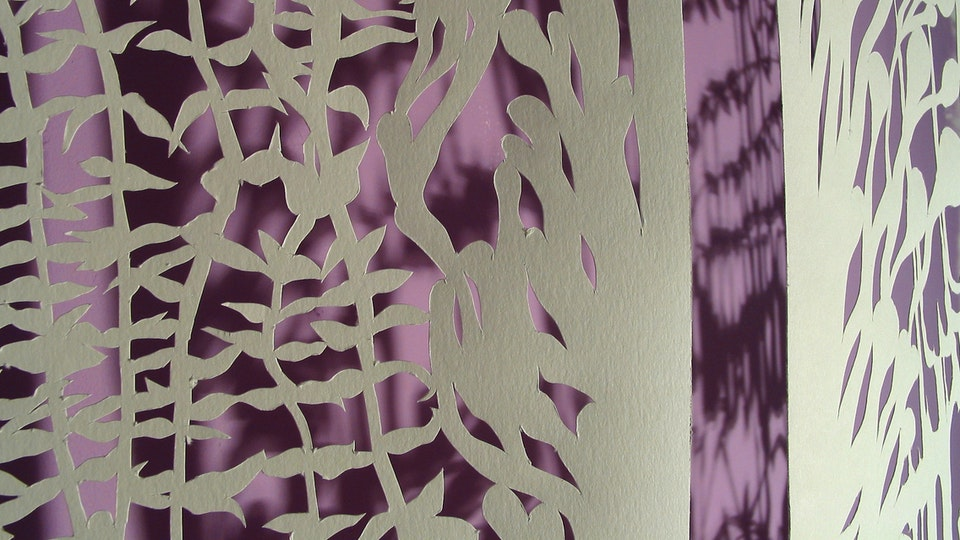 White Paper Color Field Series - Lily Grub Burst  (detail) | cut paper, painted wall, wire. lighting | 2003  © Chris Natrop
