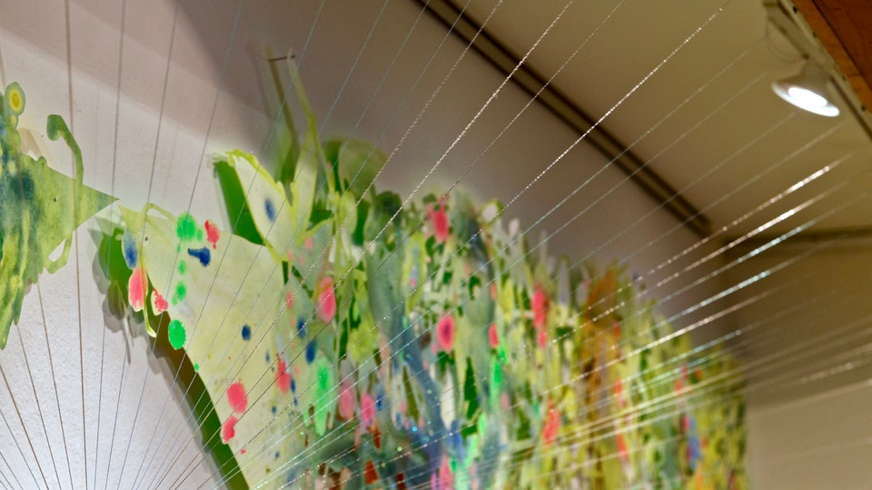 Jungle Diamond Burst - Jungle Diamond Burst | 60 x 230 x 24 inches | acrylic and glitter on paper, string, nails | 2018 | © Chris Natrop
