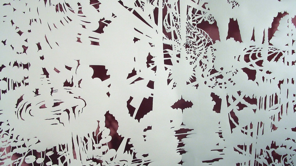 White Paper Color Field Series - Lily Swell Machine (detail)  | cut paper, painted wall, wire. lighting | 2003  © Chris Natrop